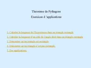 Thorme de Pythagore Exercices d applications 1 Calculer
