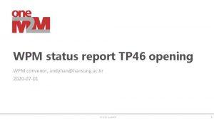 WPM status report TP 46 opening WPM convenor