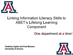 Linking Information Literacy Skills to ABETs Lifelong Learning