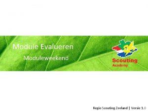 Module Evalueren Moduleweekend Regio Scouting Zeeland Versie 1