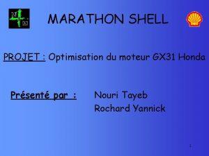 MARATHON SHELL PROJET Optimisation du moteur GX 31