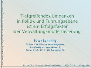 Prof Peter Schilling angewandtes informations management aim Tiefgreifendes