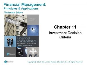 Financial Management Principles Applications Thirteenth Edition Chapter 11