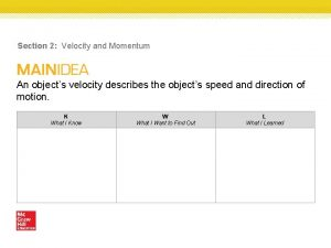Section 2 Velocity and Momentum An objects velocity
