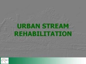 URBAN STREAM REHABILITATION TECHNIQUES FOR REHABILITATION Measures to
