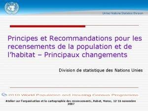 Principes et Recommandations pour les recensements de la