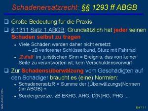 Schadenersatzrecht 1293 ff ABGB q Groe Bedeutung fr