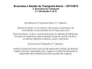 Economia e Gesto do Transporte Areo 20112012 2