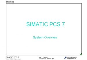 SIMATIC PCS 7 System Overview SIMATIC PCS 7