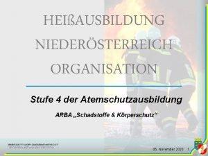 HEIAUSBILDUNG NIEDERSTERREICH ORGANISATION Stufe 4 der Atemschutzausbildung ARBA