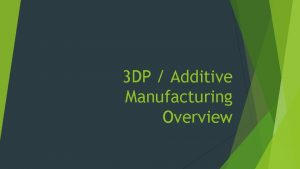 3 DP Additive Manufacturing Overview Major Technologies Fused