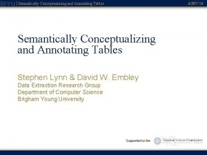 Semantically Conceptualizing and Annotating Tables ASWC 08 Semantically