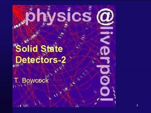 Solid State Detectors2 T Bowcock 1 Schedule 1