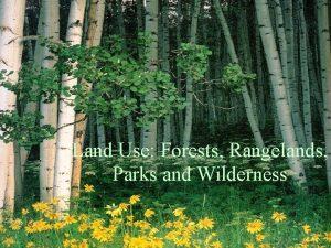 Land Use Forests Rangelands Parks and Wilderness World