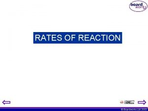 RATES OF REACTION Boardworks Ltd 2003 Rates of