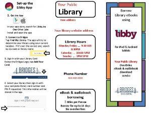 Setup the Libby App 1 Get the App