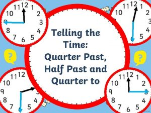 Telling the Time Quarter Past Half Past and