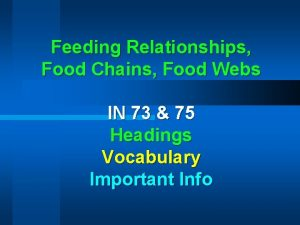 Feeding Relationships Food Chains Food Webs IN 73