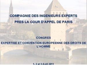 COMPAGNIE DES INGENIEURS EXPERTS PRES LA COUR DAPPEL