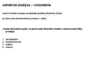 odmrn analza volumetrie uren mnostv analytu na zklad