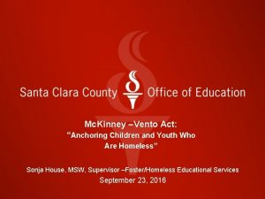 Mc Kinney Vento Act Anchoring Children and Youth
