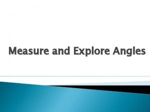 Measure and Explore Angles Adjacent Angles Adjacent angles