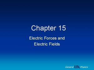 Chapter 15 Electric Forces and Electric Fields General