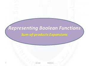 Representing Boolean Functions Sumofproducts Expansions 1 L Alzaid