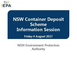 NSW Container Deposit Scheme Deposit NSW Container Scheme