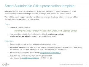 Smart Sustainable Cities presentation template A key aspect