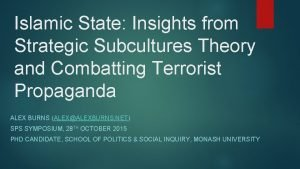 Islamic State Insights from Strategic Subcultures Theory and