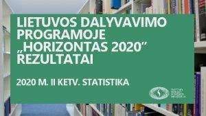 LIETUVOS DALYVAVIMO PROGRAMOJE HORIZONTAS 2020 REZULTATAI 2020 M