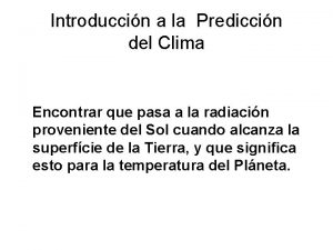 Introduccin a la Prediccin del Clima Encontrar que