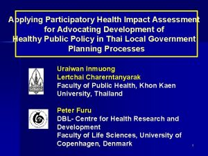 Applying Participatory Health Impact Assessment for Advocating Development