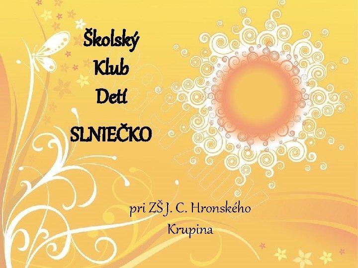 kolsk Klub Det SLNIEKO pri Z J C