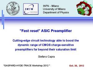 INFN Milano University of Milano Department of Physics