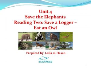 Unit 4 Save the Elephants Reading Two Save
