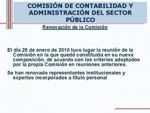 COMISIN DE CONTABILIDAD Y ADMINISTRACIN DEL SECTOR PBLICO