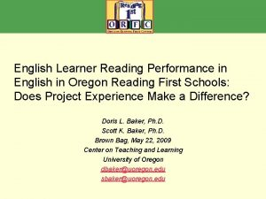 English Learner Reading Performance in English in Oregon