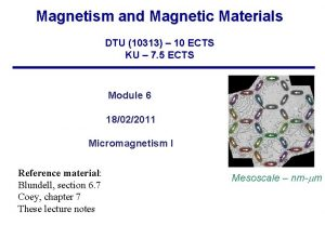 Magnetism and Magnetic Materials DTU 10313 10 ECTS