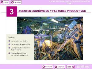 INICIO INTERNET 3 AGENTES ECONOMICOS Y FACTORES PRODUCTIVOS