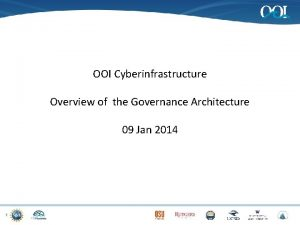 OOI Cyberinfrastructure Overview of the Governance Architecture 09