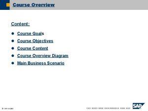 Course Overview Content l Course Goals l Course