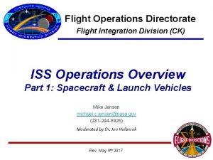 Flight Operations Directorate Flight Integration Division CK ISS