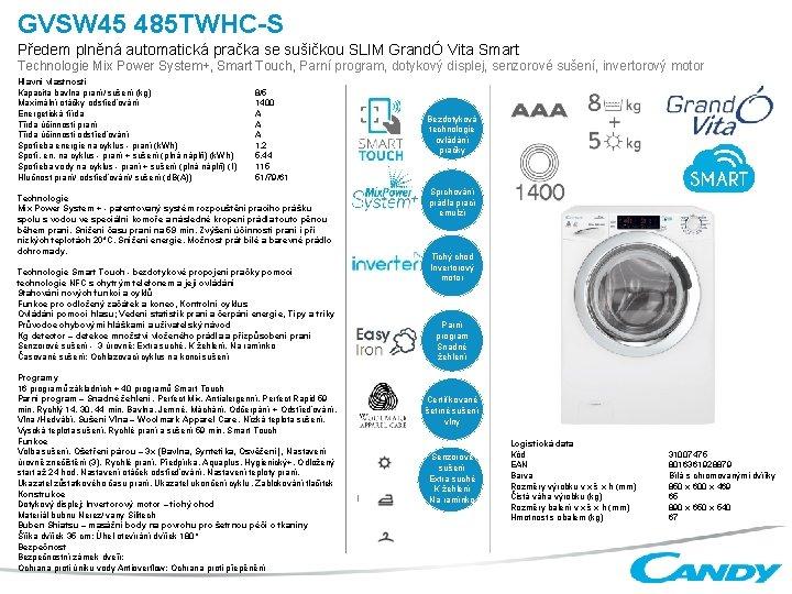 GVSW 45 485 TWHCS Pedem plnn automatick praka