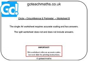 Circle Circumference Perimeter Worksheet B The single A
