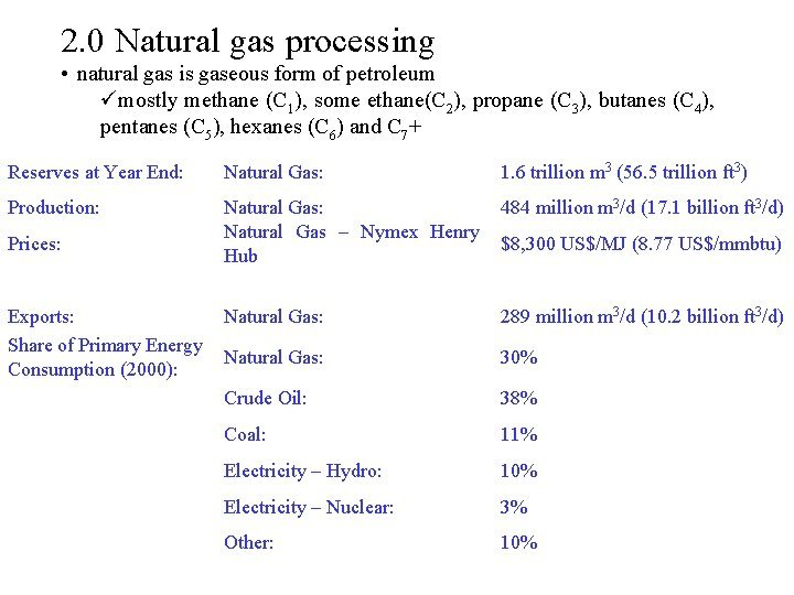 2 0 Natural gas processing natural gas is