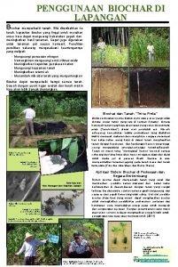 PENGGUNAAN BIOCHAR DI LAPANGAN Biochar memperbaiki tanah Bila