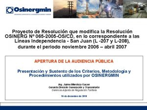 Proyecto de Resolucin que modifica la Resolucin OSINERG