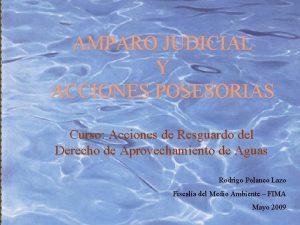AMPARO JUDICIAL Y ACCIONES POSESORIAS Curso Acciones de